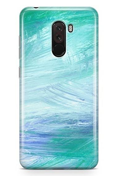 Lopard Xiaomi Pocophone F1 Kılıf Silikon Arka Kapak Koruyucu Yeşiller Desenli Full HD Baskılı Renkli